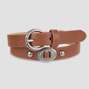 NWT Art Class Silver Brown Leather Western Belt